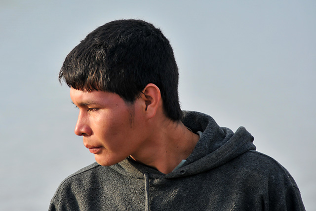 Chimani boy camped on the river near San Lorenzo de Moxos