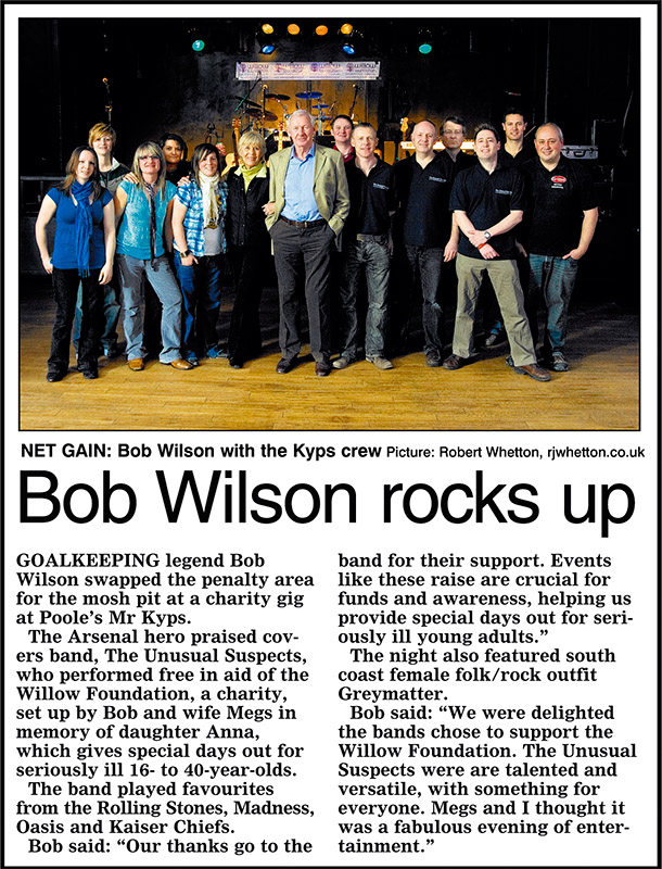 Bournemouth Echo Article on Willow Foundation Charity Gig at Mr Kyps