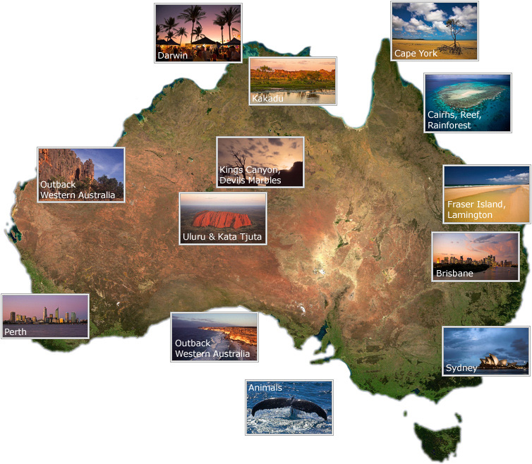 Map of Australia with gallery thumbnails and links
