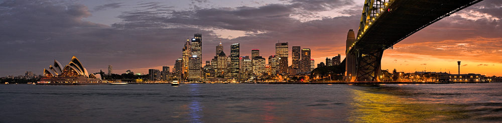 Sydney Harbour Bridge and Opera House sunset panorama