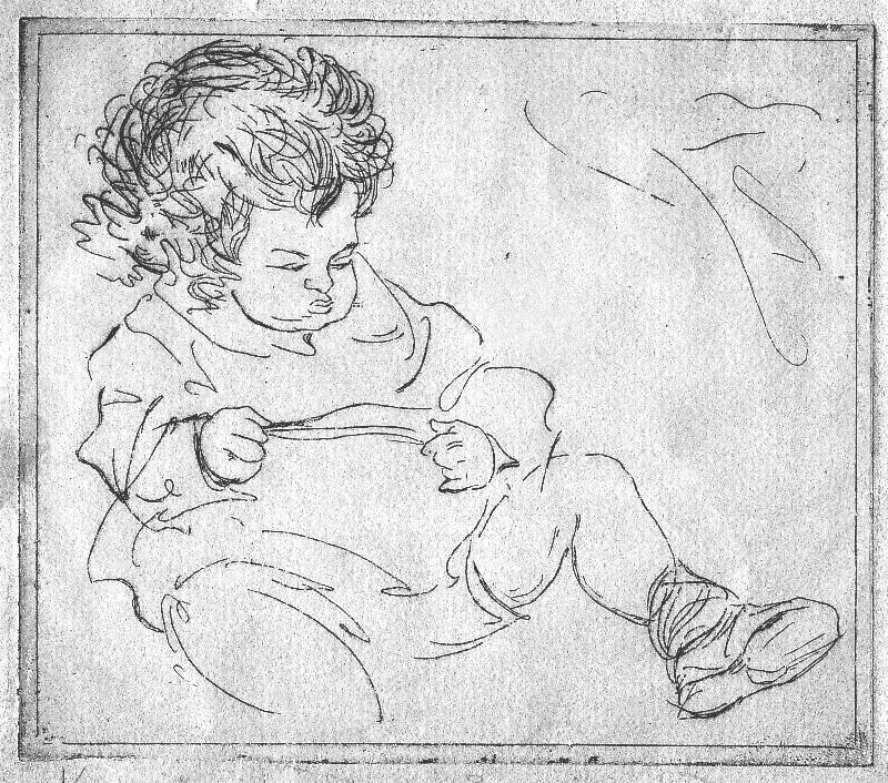 WDA Smith as a baby, Christmas 1918, by Cora Gordon. Authors collection.