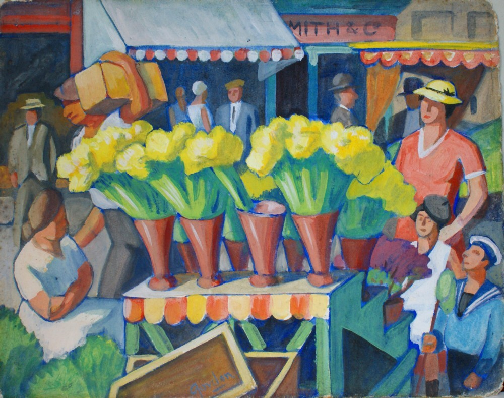 Back in London, flower sellers, 1930s, by Jan Gordon. The family on the right hand side may represent Doris, Pamela and Denis.