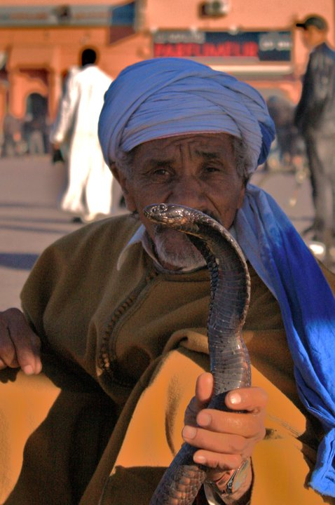 Snake charmer in Marrakesh - Encantador de serpientes en Marraqueix