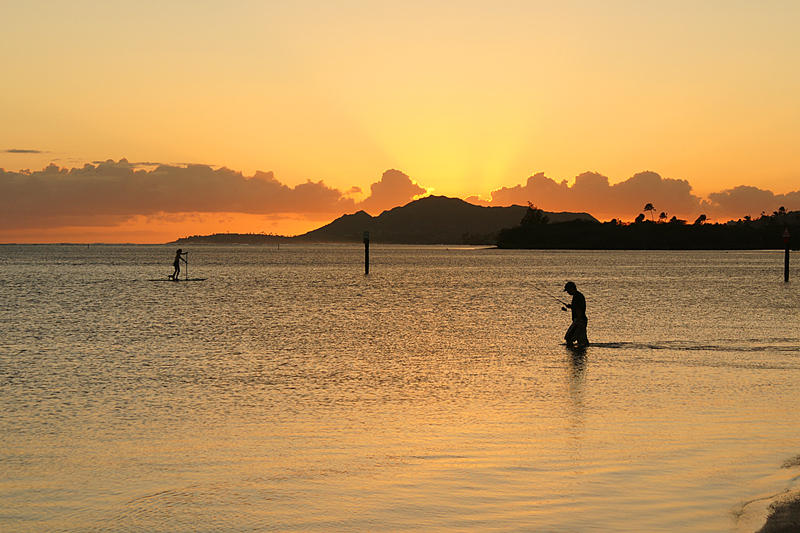 Diamond Head from Maunalua Bay - Trying his luck at sunset