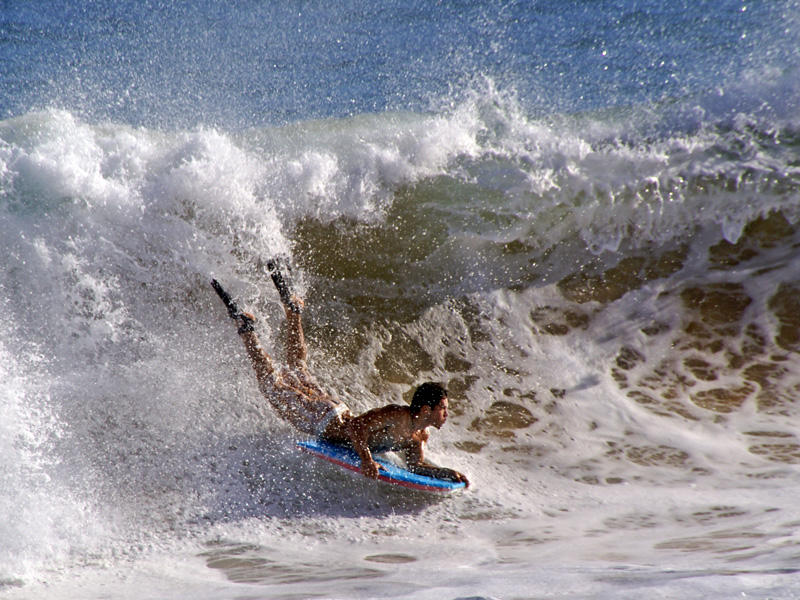 Boogie Boarding at Sandys