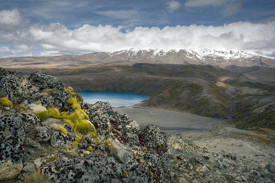 Lower Tama Lake with Mount Ruapehu