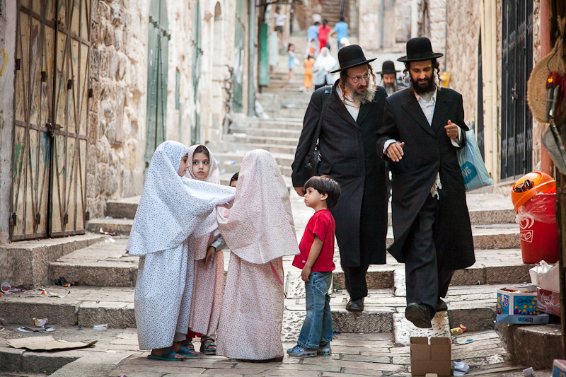 Muslim children Jewish men - Jerusalem