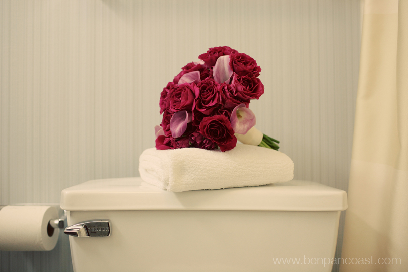 Detailed photograph of a brides wedding boquet in the bridal suite bathroom.