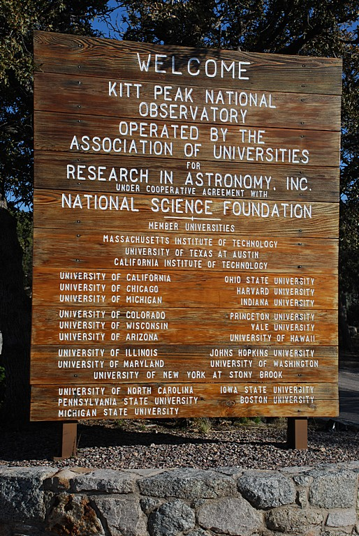 THE KITT PEAK NATIONAL OBSERVATORY IS SPONSORED BY SEVERAL GOVERNMENT AGENCIES AND UNIVERSITIES