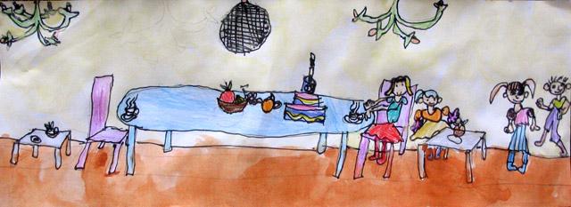long paper - party, Annie, age:5