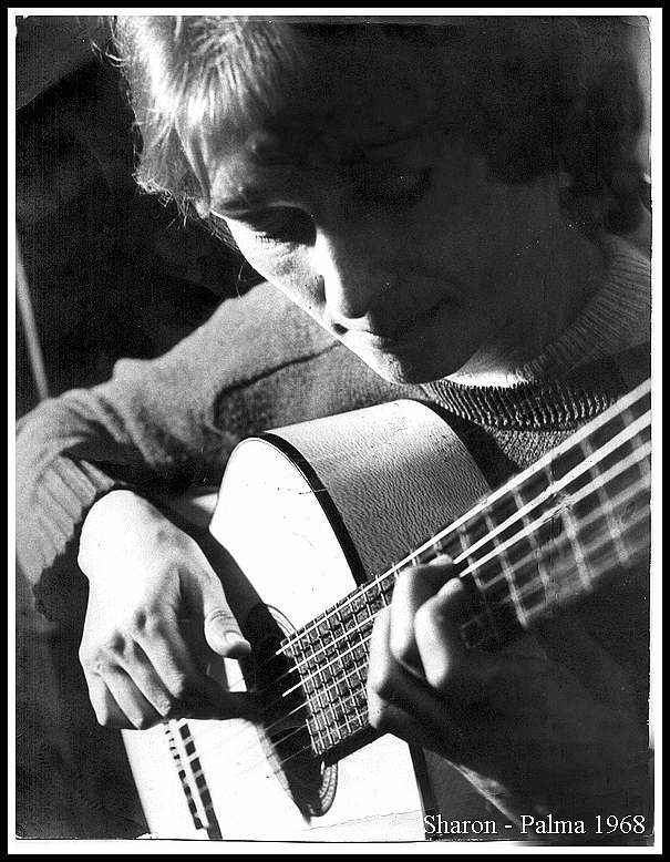 sharon and guitar 1968