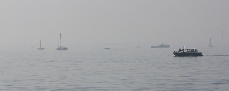 Some of the observer boats in line