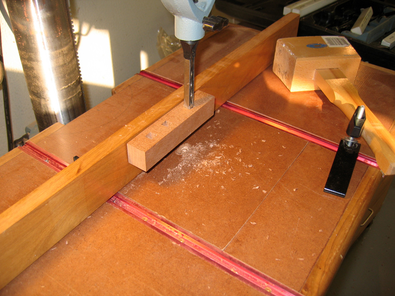 mortise chisel with jamed test piece