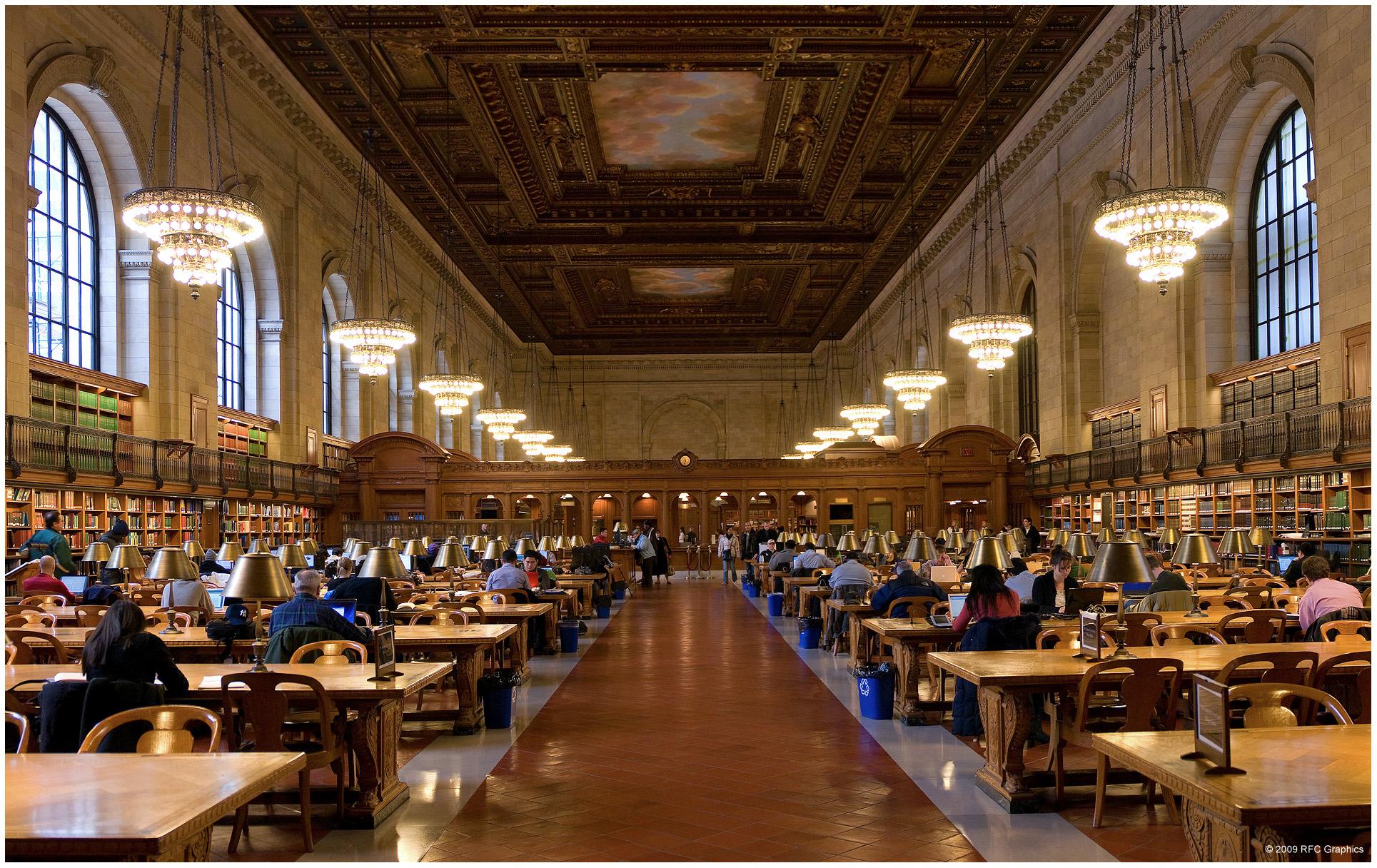 New York Public Library Reading Room Wallpaper