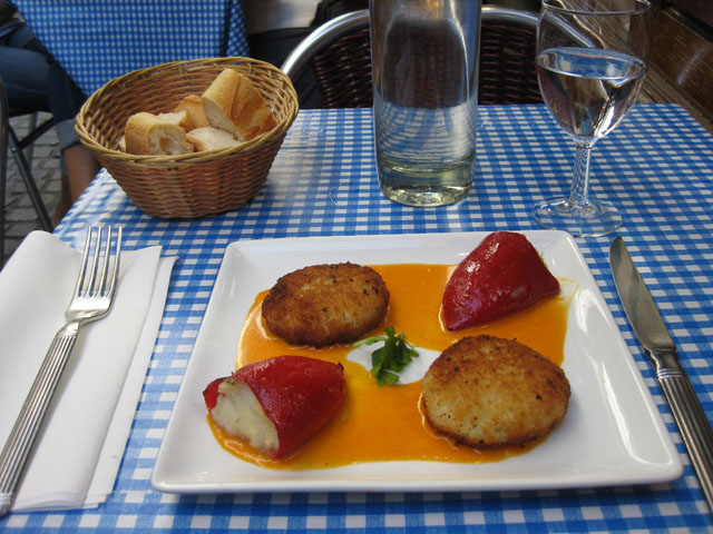 Basque appetizer potato croquettes and stuffed pepper