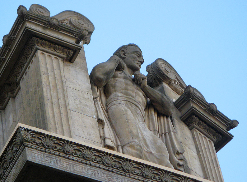 Closeup of top right - another guardian of the arts