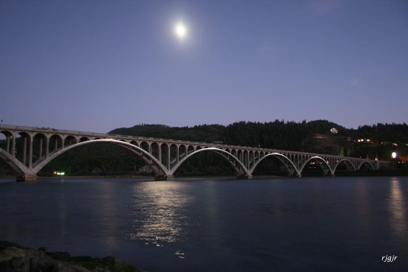 Nightime Falls on Bridge Lights