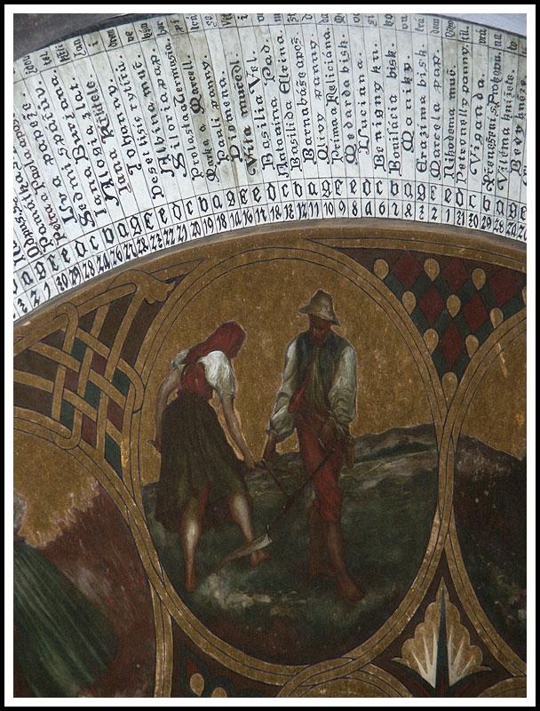 Astronomical Clock Detail (saints names?)