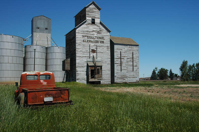 Rudyard, MT elevators and old IHC pick up truck  photo