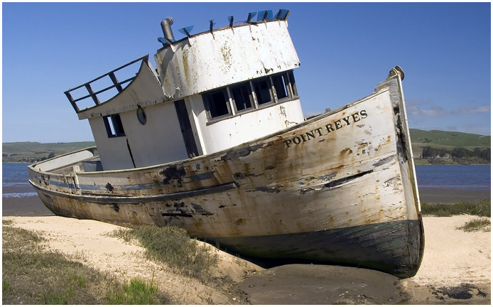 Boat grounded in Point Reyes California