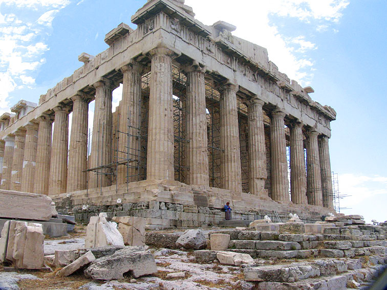 Acropolis - Parthenon with a person showing the temples scale.jpg