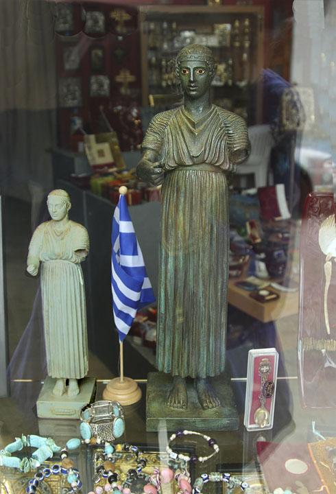 Delphi Charioteer in window display.jpg