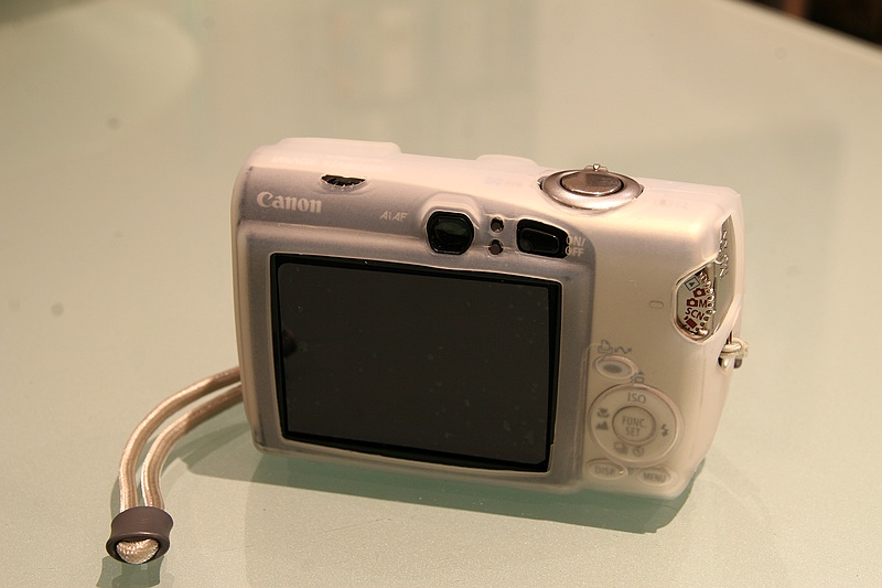 Rear view of Ixus 800 fitted with Silicone case
