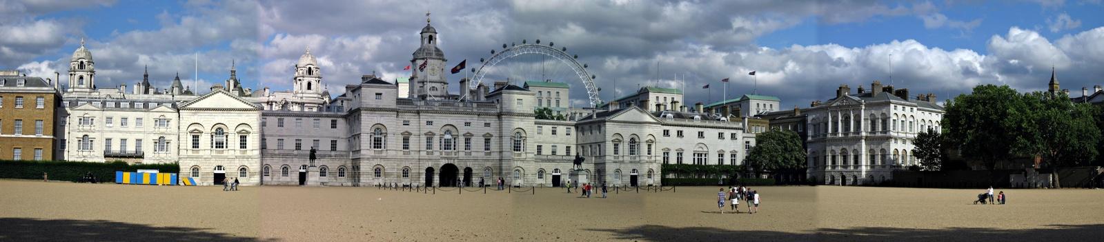 Horse Guards Parade and Millenium wheel panorama