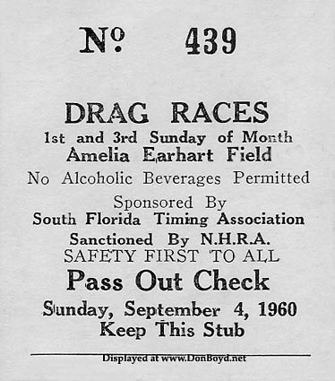 1960 - pass out check for the Amelia Earhart Field Drag Races, Hialeah