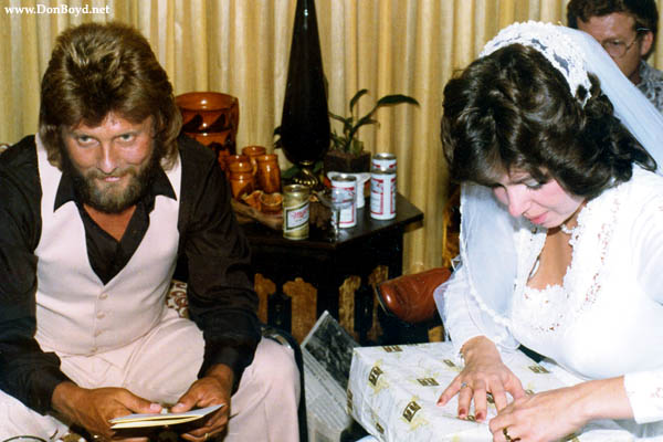 Terry and Susan opening wedding gifts