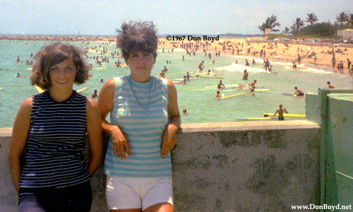 1967 Janet Province And Anita Petrogallo On The South Beach Fishing Pier With
