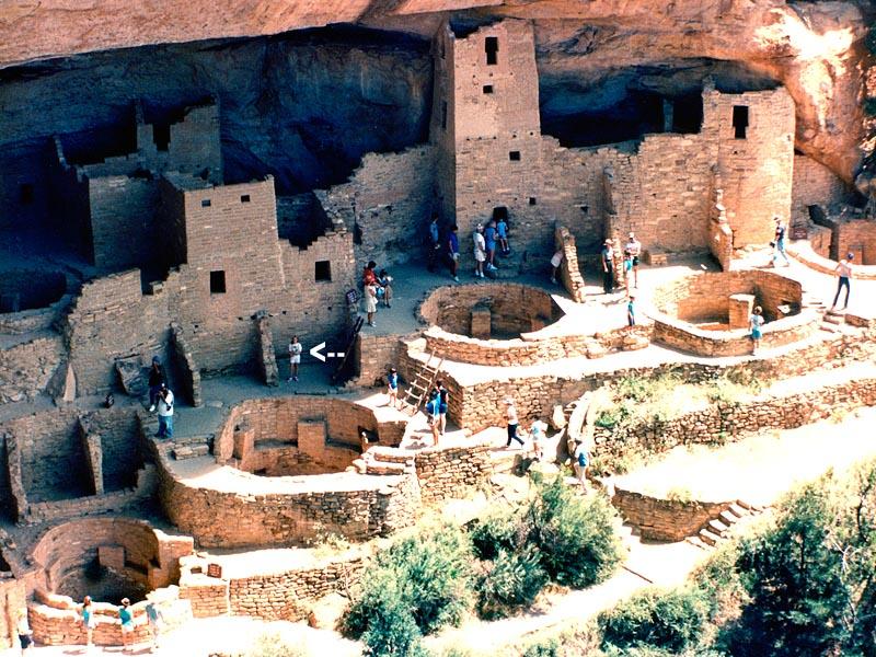 1990 - Karen at the ancestral Pueblo cliff dwellings