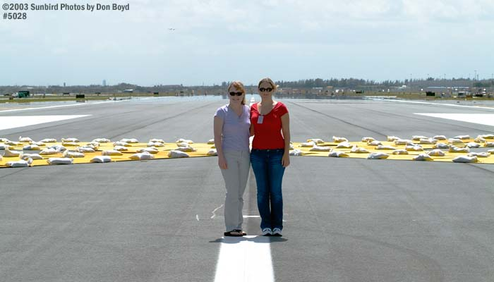 2003 - Karen and Donna on unopened runway 26 (now 26-right)
