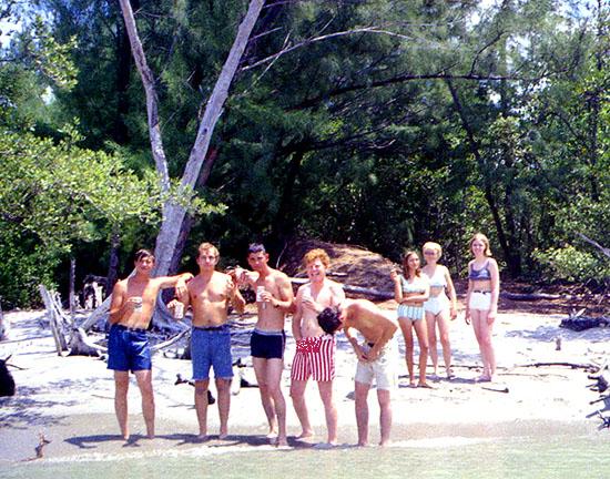 Early 70s - beach party on Virginia Key