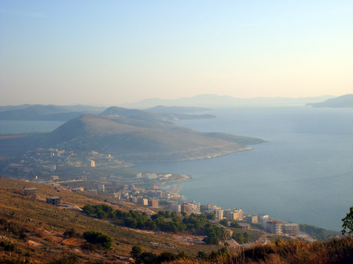 looking south along the ionian coast of albania towards greece
