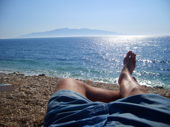 still life with legs, sea, and corfu