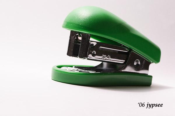 green stapler