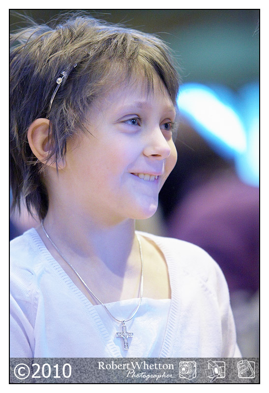 Amelia Cooper has Neuroblastoma. Her Holey Communion. Photography by Robert Whetton Events Photographer
