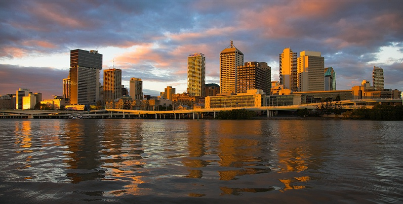 Brisbane sunset panorama