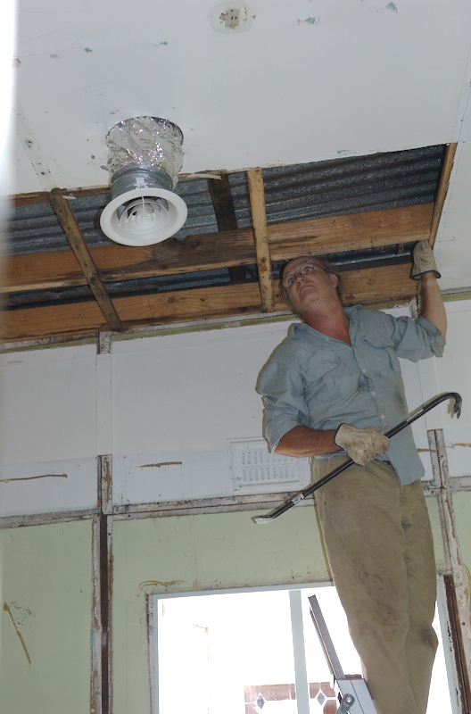 pulling down a ceiling