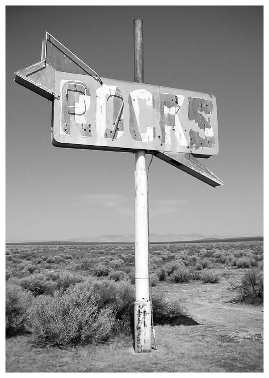 Mojave Desert sign bw