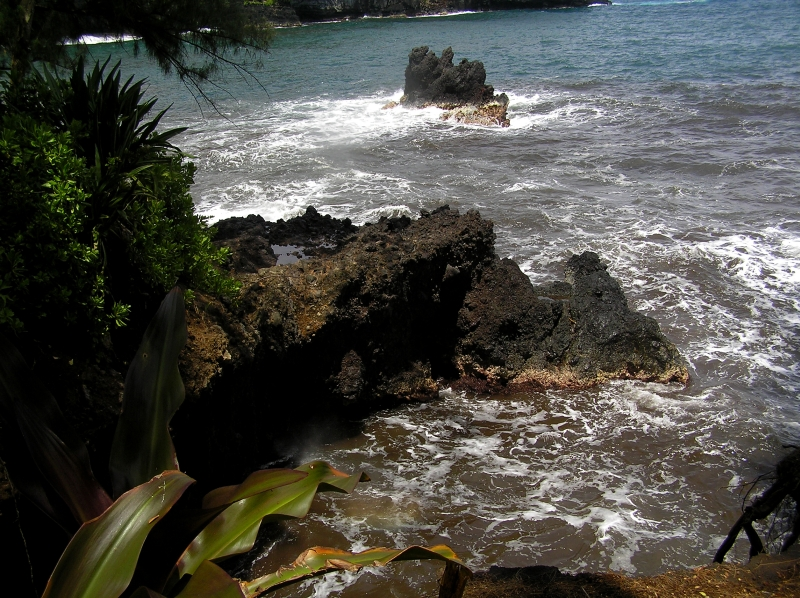 Lava rock flowed into the ocean here