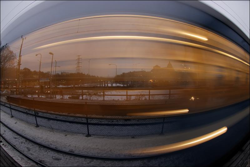 Commuter train with fisheye