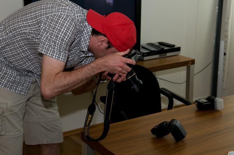Oliver taking photo of the Nikon SB-900