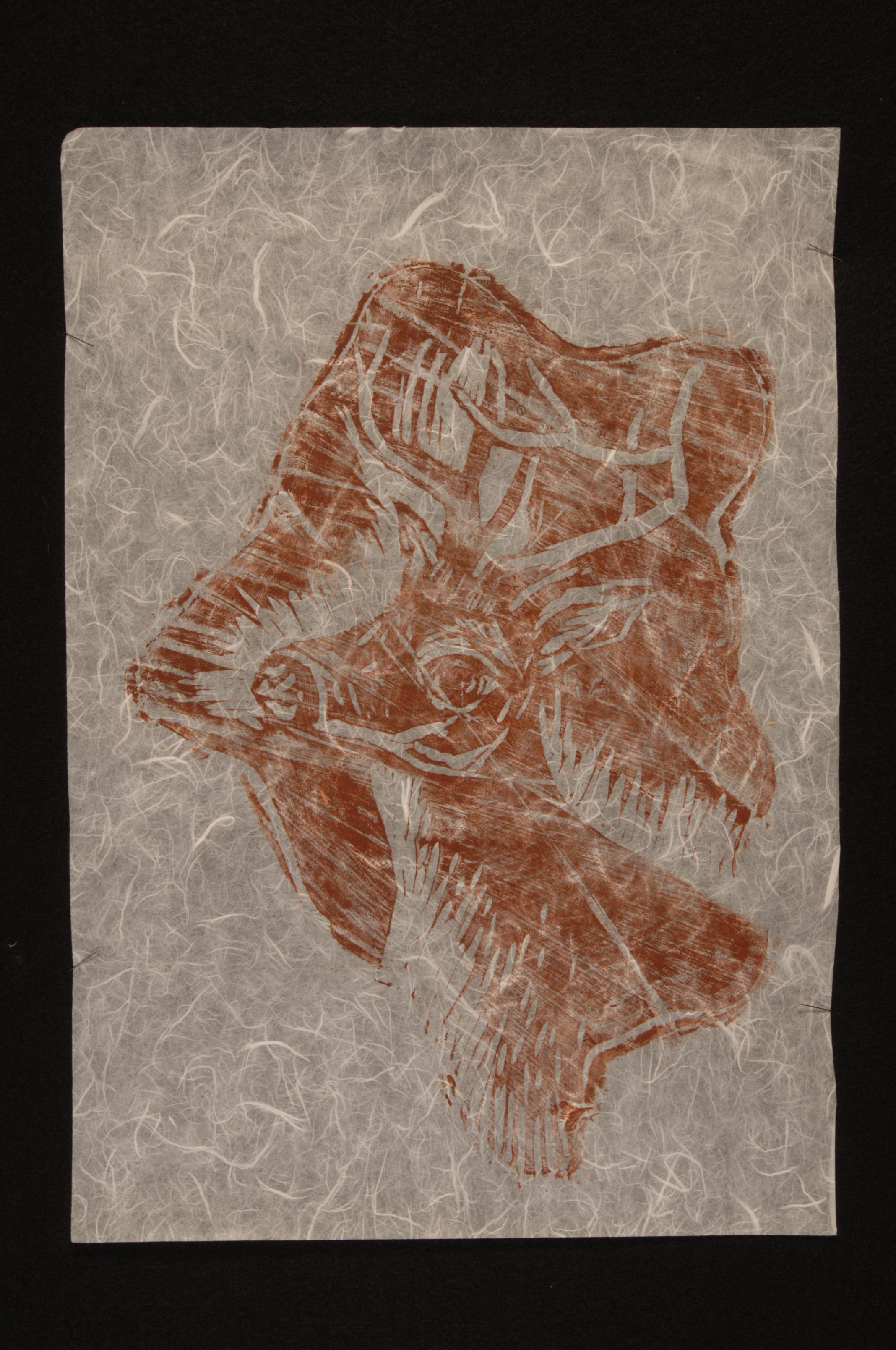 ELM tree stump (woodcut) 18 x 12