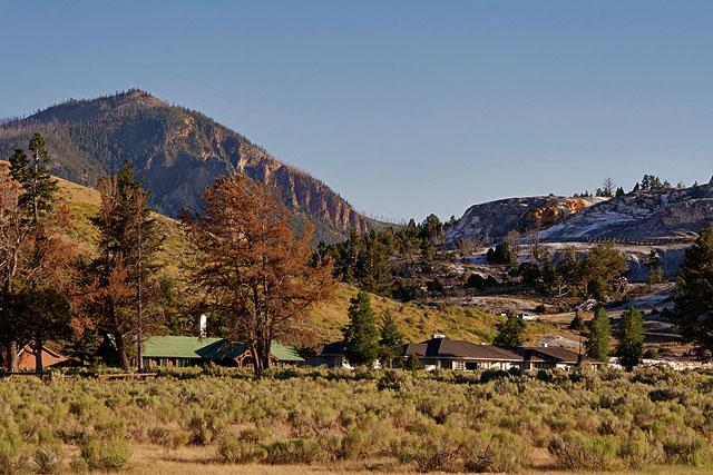 Bunsen Peak, towering over Mammoth Hot Springs