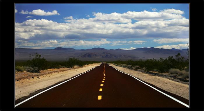 Yellow Median Road, Mojave Desert, Nevada