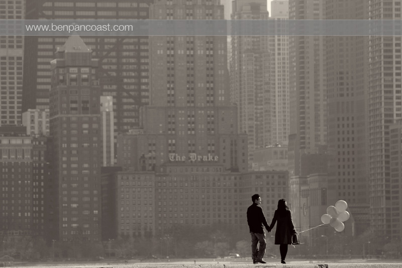 Engagement Photo, Chicago Skyline, North Avenue Beach.