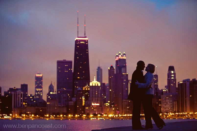 Chicago Engagement Photo at Sunrise.