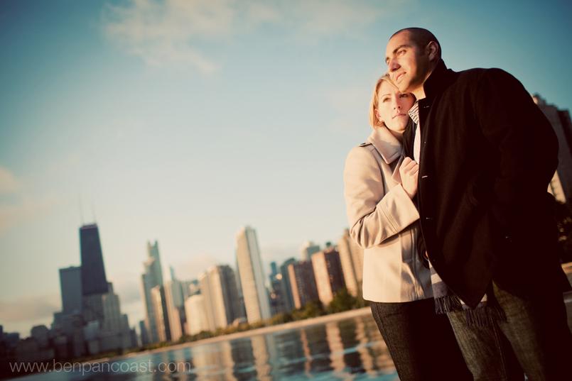 Engagement photos at sunrise in Chicago along lake Michigan.